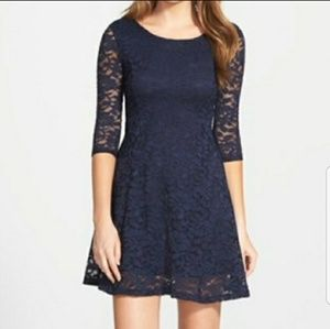 NWT Lush 3/4 Sleeve Lace Skater Dress Size M
